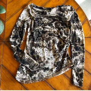 Double D Ranch | Snakeskin Knit Tunic Top Sequins
